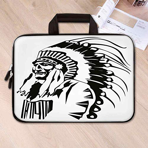 - Tribal Neoprene Laptop Bag,Sketchy Hand Drawn Grunge Style Old Native American Eastern Tribe Chef Image Decorative for Business Casual or School,15.4''L x 11''W x 0.8''H