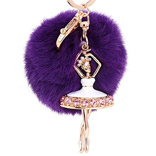 DZT1968® Fur Ball Keychain With Ballet Girl For Handbag Key Ring Car Key (Purple)