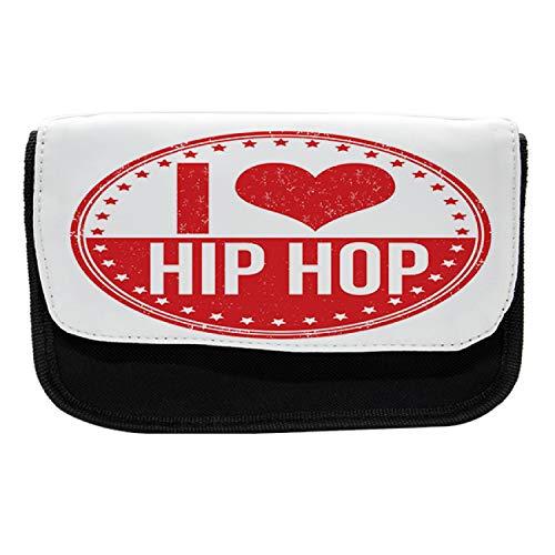 Ambesonne Hip Hop Pencil Case, I Love Hip Hop Phrase, Fabric Pen Pencil Bag with Double Zipper, 8.5