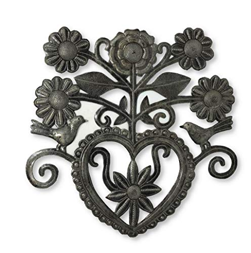 (Haitian Heart Wall Decor, Decoration with Flowers, Love and Friendship Wall Hanging Plaques, Tree, Peace, Handmade in Haiti, 15 in. x 15 in. (Heart with Flowers) )