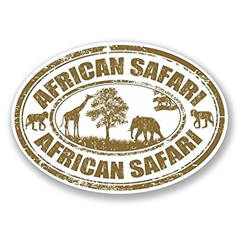 3 Pack - African Safari WINDOW CLING STICKER Car Van Campervan Glass - Sticker Graphic - Construction Toolbox, Hardhat, Lunchbox, Helmet, Mechanic, Luggage
