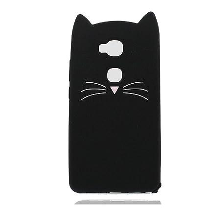 Huawei Honor 5X Carcasa, 3D de Dibujos Animados Gato Negro ...