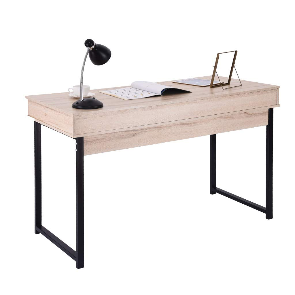 Yikey Computer Desk, Home and Office Simple Laptop Table Workstation with 2 Drawers
