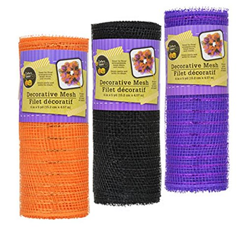 3 Pack Crafter's Corner Decorative Mesh - Black, Purple and Orange with Metallic Strands - 6 in. x 5 yds