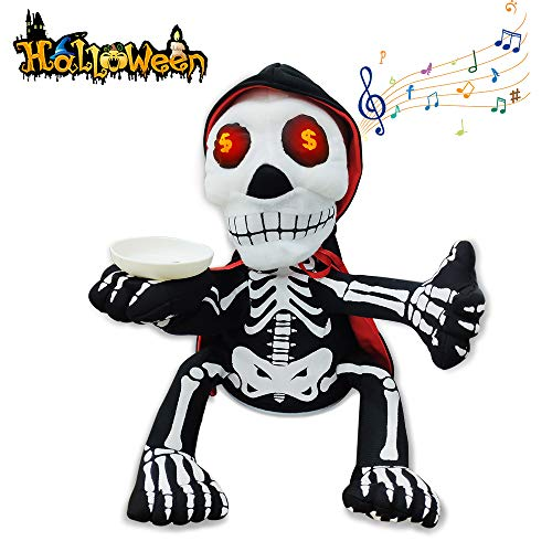 VATOS Halloween Skeleton Decoration, Money-Begging Ghost with Skeleton Pattern, Halloween Deco Party Supplies, Trick or Treat Prop Toy Can Singing and Dancing (Dancing Skeleton Toy)