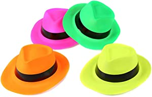 Fun Central 12 Pieces - Neon Plastic Gangster Hat for Men & Women in Bulk Party Favor Supplies - Assorted Colors