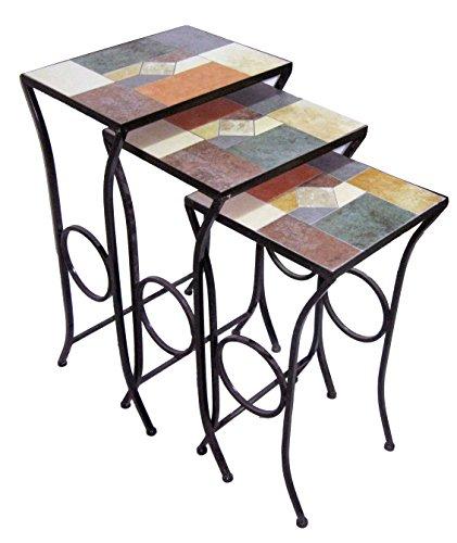 Rayes Imports D64067 Mosaic Nesting Table Set (Nesting Mosaic Tables)