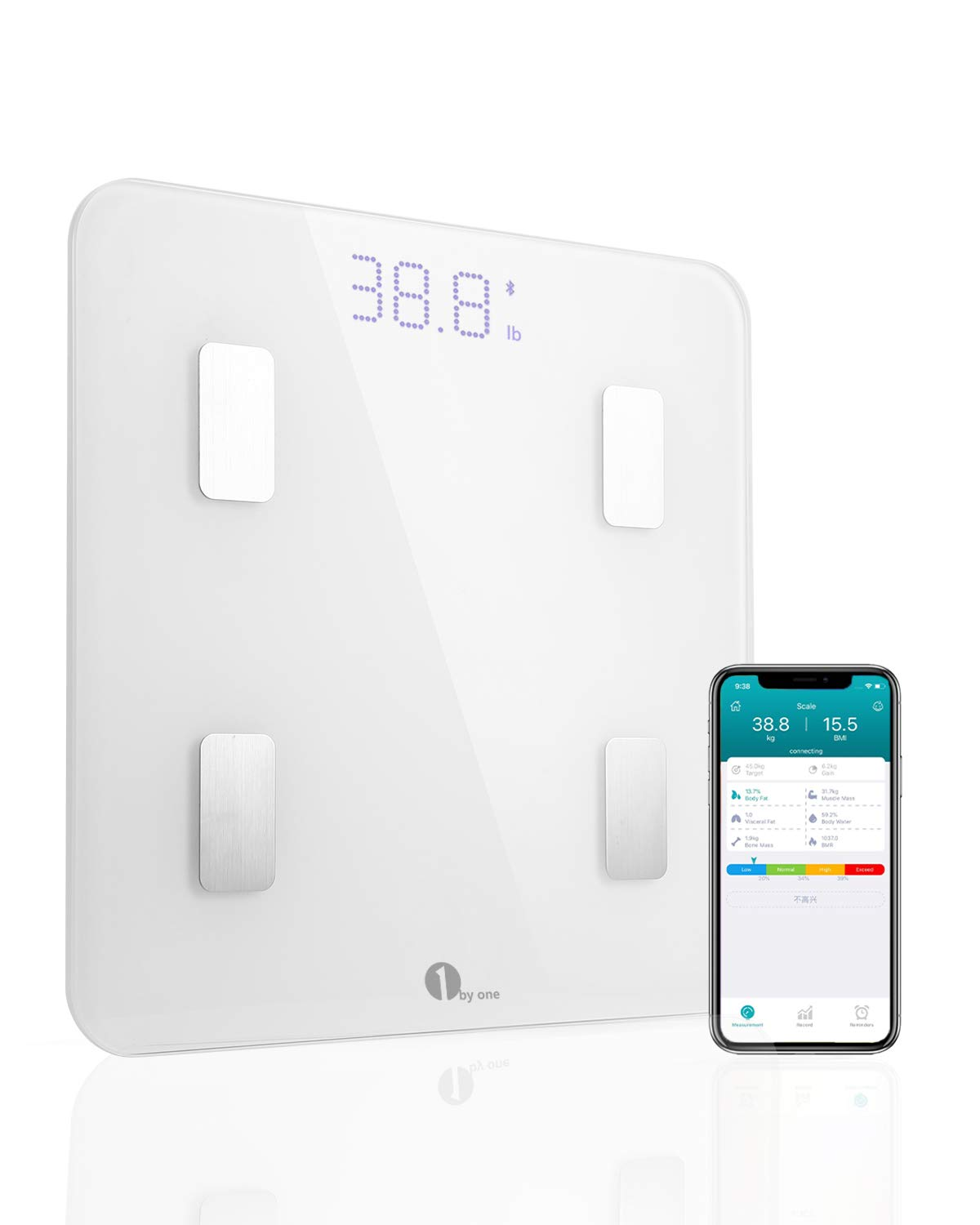 1byone Bluetooth Smart Body Fat Scale with iOS and Android App, Accurate Health Metrics, Body Composition & Weight Measurements, White 4336305975
