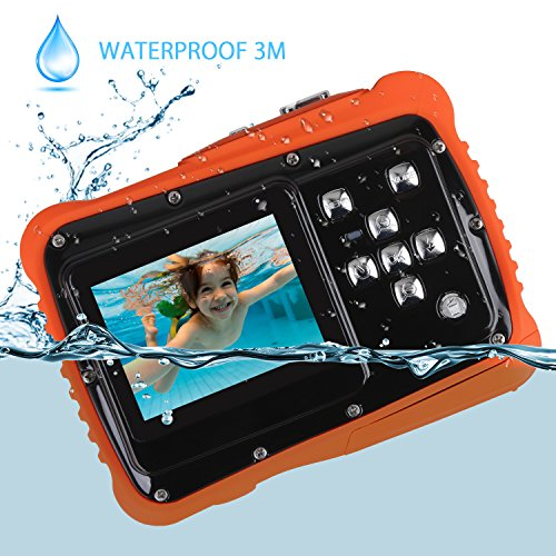 Kids Waterproof Camera, Digital Underwater Camera for Kids, 12MP HD Underwater Action Camcorder for Boys and Girls with 3M Waterproof, 2.0 Inch LCD Screen, 8X Digital Zoom, Flash and Mic (Black)