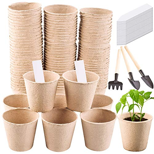 (WXJ13 100 Pieces Peat Pots 3 Inches Gardening Pot Naturally Degradable, Environmentally Friendly with 100 Plastic Plant Markers Shovel Three-Piece)