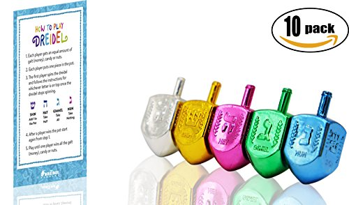 Dreidels Metallic Multi Colored With Draydel Game Instructions 10-Pack