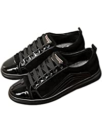 Mens Black Leather Fashion Sneakers