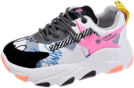 SHOES-HY Zapatos Casuales para Mujer Zapatillas de Deporte Ligeras y cómodas, Zapatillas de Tenis para Correr con Gimnasia Gimnasio Deporte Entrenamiento Gimnasio Atlético,Blanco,36: Amazon.es: Jardín