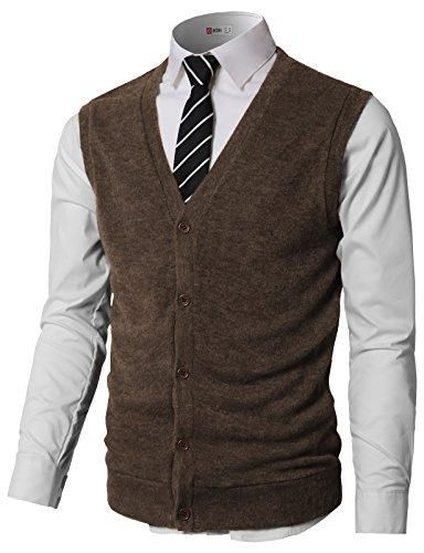 H2H Men's Classic Knit Cardigan Sweater Vest with Button Brown US L/Asia XL (CMOV046)