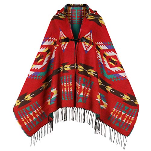 Uyuni Women's Bohemian Casual Hooded Shawl Fringe Poncho Cashmere Loose Plaid Cape Vintage Geometric Patterned Cardigan