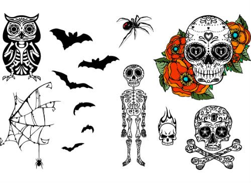 Halloween Skulls, Skeleton, Spider & Bats Temporary Tattoo Set, 2 Sheets of Skull and Halloween Themed Tattoos - 13 Designs, 26 Tattoos Total (Printable Skeletons Halloween)