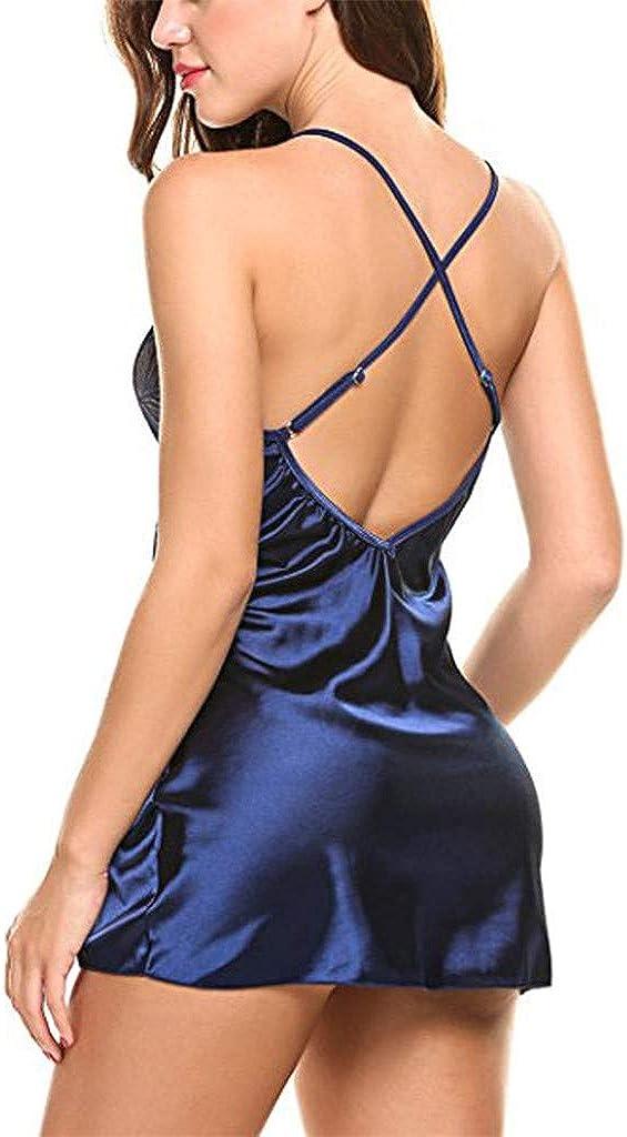 Forthery Womens Lace Nighte Dress Plus Size V-Neck Nightdress Erotic Lingerie Babydoll Nightwear Sleepskirt Underwear
