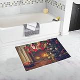 Unique Debora Custom Bathroom Accessories Non-Slip Bath Mat Rug Bath Doormat Floor Rug with Fireplace And Christmas Tree