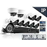 LaView 3MP IP 10 Camera Security System, 16 Channel IP PoE NVR (Resolution 1080p - 6MP) w/5TB HDD and 8 IP Bullet & 2 IP Dome White Surveillance Camera Kit