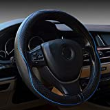 Leather Steering Wheel Covers Universal 15 inch - Genuine Leather, Breathable, Anti Slip & Odor Free (Black with Blue Lines)
