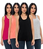 Unique Styles Loose Fit Tank Tops for Women Cotton Stretchy Flowy Scoop Neck (Small, Black/Hot Pink/Heather Grey/Coral)