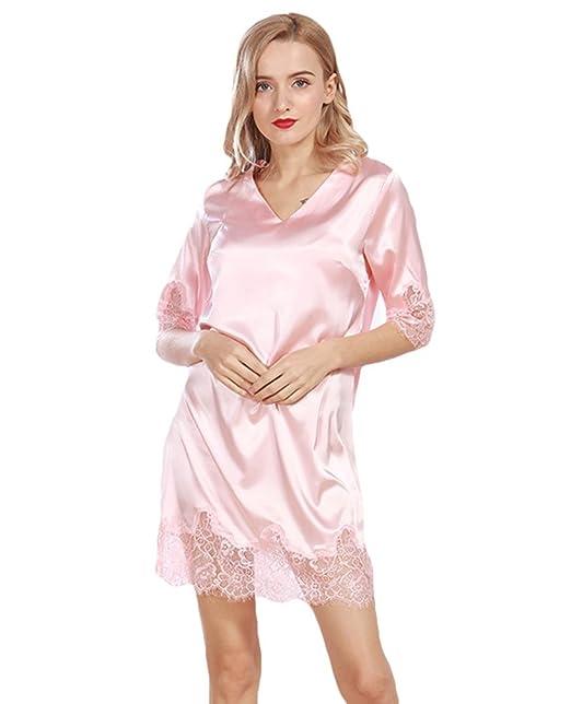 Ropa Seda Escote Accesorios Mujer De Wanyang Lencería Chaleco Camisón V es Conjunto Noche Y Pijama Camiseta Amazon HwtHaq8