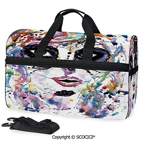 Multi Pocket Duffle Bag Halloween Girl with Sugar Skull Makeup Handbag Luggage]()