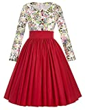 Grace Karin 50's Vintage Floral Casual Long Sleeve Dresses for Church (S) BP96-1