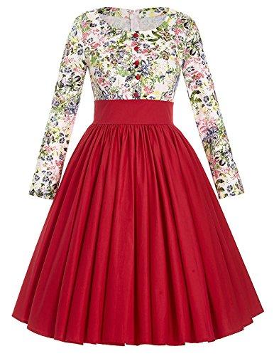 Belle-Poque-Womens-Long-Sleeve-Floral-Vintage-Cocktail-Dresses