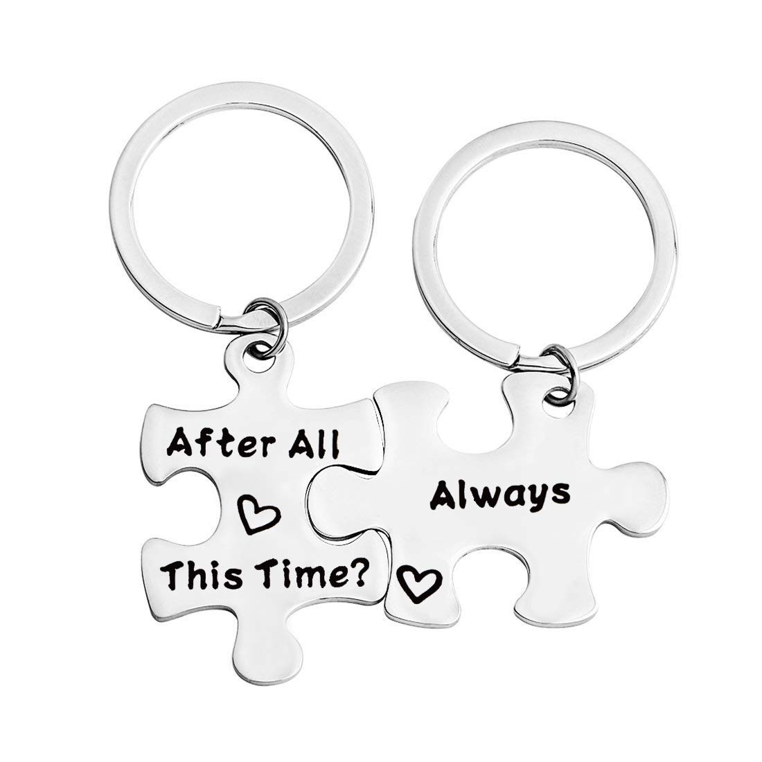 FEELMEM After All This Time Always Couples Puzzle Keychain Set Wedding Valentine's Gift Long Distance Keychain Friendship Gift (Silver)