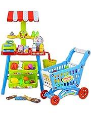 deAO Supermercado Puesto de Mercado Tienda de Alimentos con Carrito de la Compra, Más de 70 Accesorios y Productos Incluidos