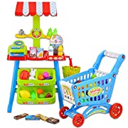 deAO Kids Market Stall Toy Shop With Shopping Trolley And Play Food