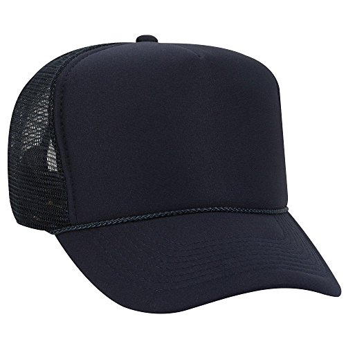OTTO Polyester Foam Front 5 Panel High Crown Mesh Back Trucker Hat - Navy ()