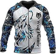 Men Fall Wolf Zip Hoodies, Viking Norse Myth Fenrir 3D Print Hooded Sweatshirts Pullover Jacket with Pocket