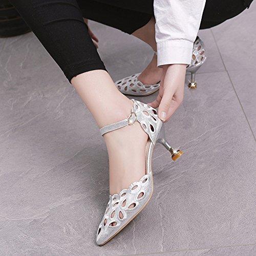 Mode Femmes Chaton D't Conseils Sandales Dcoupe Boucle Travail Chaussures Talons Pour Parti Ol En Dentelle Cour Argent De Stilettos vOvtx1