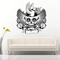 charmsamx Halloween Party Home Decoration Cut Skull Wall Sticker The Dead Skeleton Stick Mural Decal Mexican Wall Decor for Home Office Shop Window Decoration (Skull&Pigeon, 23x24 Inch)