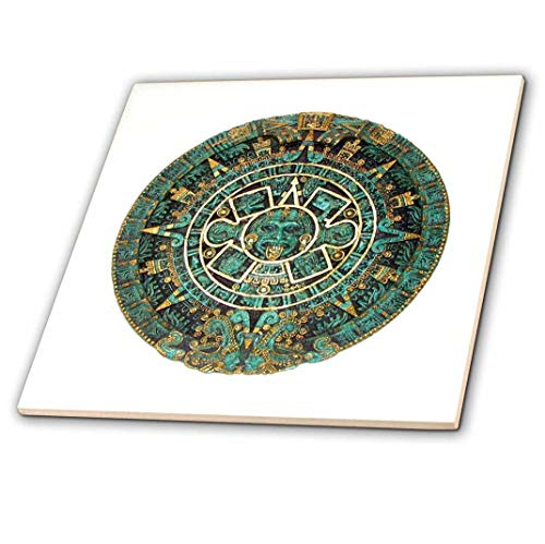 3dRose ct_255501_4 Image of Turquoise and Gold Aztec Calendar Ceramic Tiles, 12""