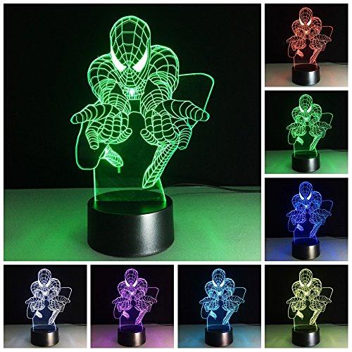 Amazing 3D illusion Effect LED Night Light Spader Man LED De