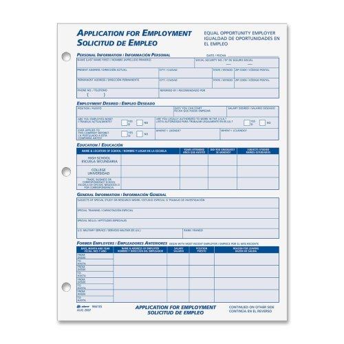 ABF9661ES - Adams business forms Adams Bilingual Employment Application Forms