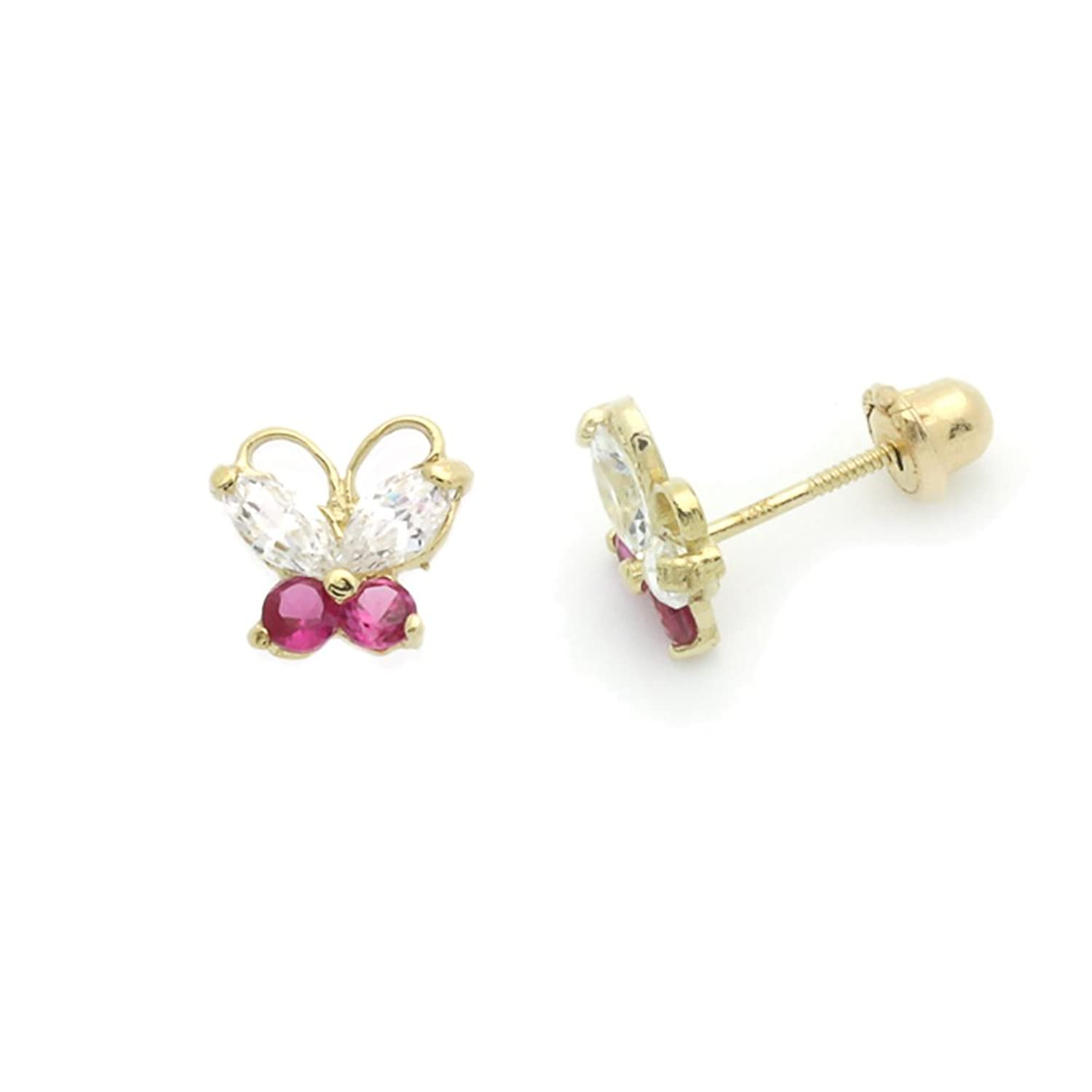 Amazon.com: 14K Yellow Gold Marquise CZ Butterfly Screwback Stud ...