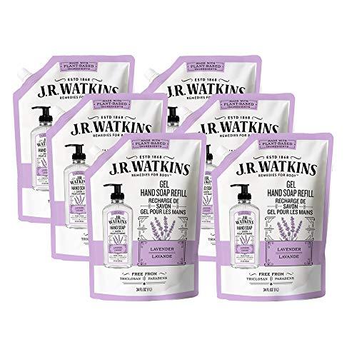 J.R. Watkins Hand Soap, Gel, 34 fl oz, Lavender, Refill Pouch (6 pack)