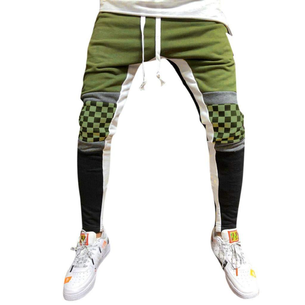 REYO Men's Casual Sweatpants, Drawstring Jogger Pant Sweatpants Overalls Elastic Fitness Training Trousers Pocket Army Green