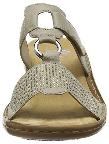 Rieker60833 Women Mules - Zuecos mujer Gris - Grey (Taupe)