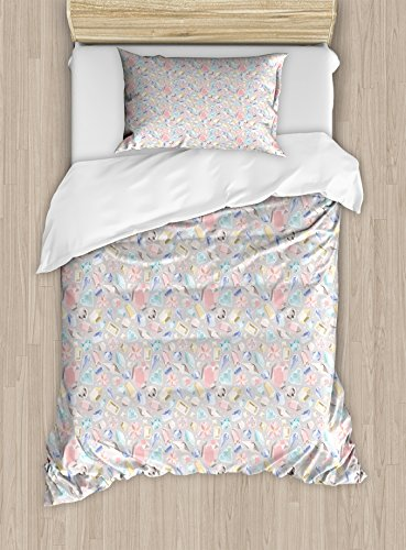 Ambesonne Diamonds Duvet Cover Set Twin Size, Pastel Colored Cushion Baguette Square and Oval Shaped Design Star Filled Backdrop, Decorative 2 Piece Bedding Set with 1 Pillow Sham, Multicolor