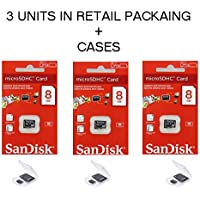 Lot of 3 Sandisk 8GB MicroSD SDHC Class 4 TF Memory Flash Card SDSDQM-008G Pack + 3 Jewel Cases