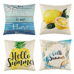 4 Pack Hello Summer Throw Pillow Covers with Pattern of Pineapple, Lemon, Sea Wreath and Beach Wood Grain! Quality fabric! Natural material! Breathability well! Features: Pillow cover design: The pattern is printed on one side, while the othe...