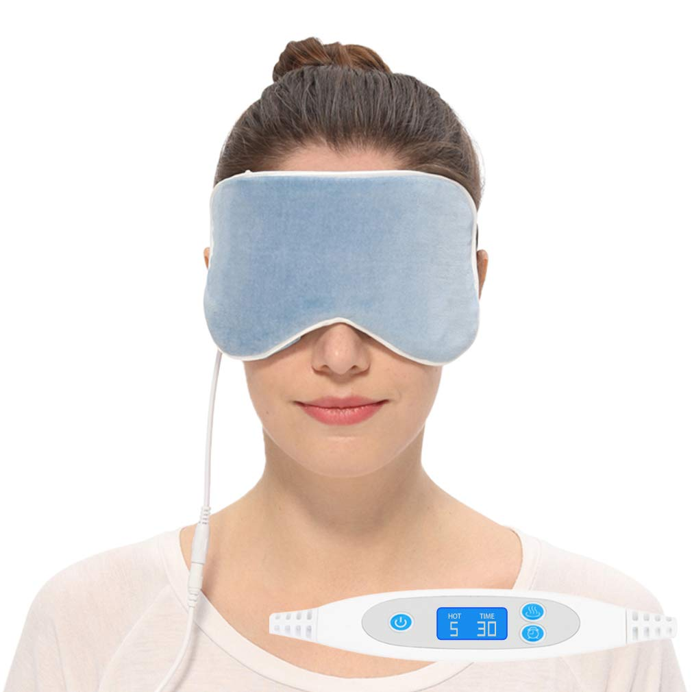 Aroma Season Natural Cotton Silk Heated Eye Mask, Warm Compress for Dry Eyes, Designed to Relieve Belpharitis, Stye, Puffy Eyes (Blue)