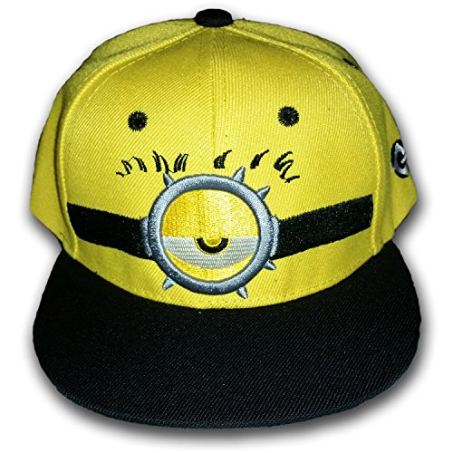 [Minions & Despicable Me Kids Sized Snap Back Hat with BONUS Minion Temporary Tattoos! (One Eye Half Closed] (Despicable Me Minion Hats)