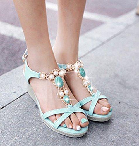 Zapatos De Tacón Alto Con Cordones, Sandalias De Cuña Y Tacón Alto, Con Cordones, Estilo Bohemio, Para Mujeres