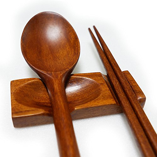 BUSHMANCRAFT / Handcrafted Wooden Chopsticks Rest, Dinner Spoon Stand, Fork and Knife Holder Home Decor Set of 4 (WU_Rest_02)